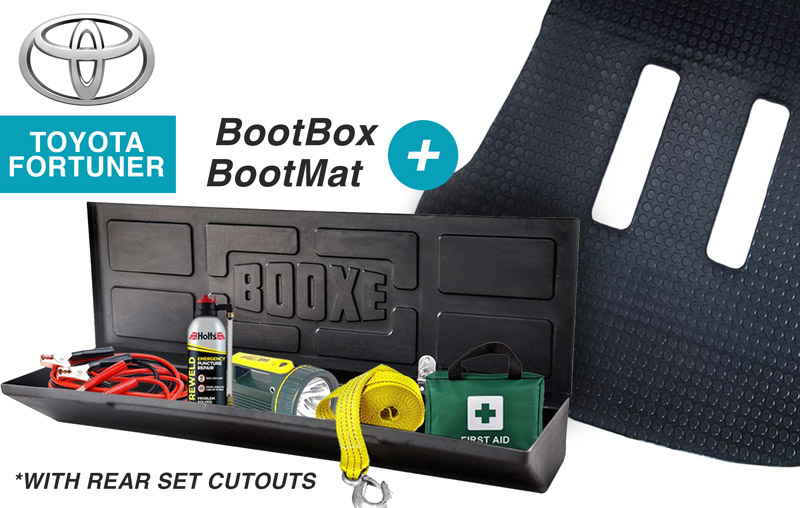 COMBO 2 – Boot Box & Boot Mat (with rear seat cutouts)